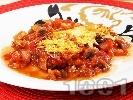 Рецепта Печени патладжани на фурна с доматен сос и кашкавал